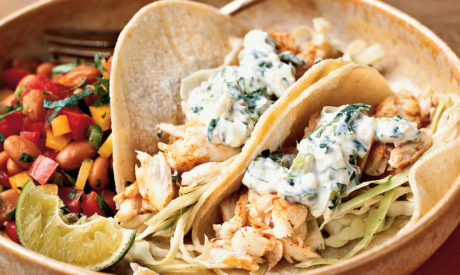 Fish Tacos with lime cilantro crema - Savory!