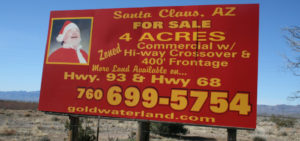 Santa in the signboard. Maybe the reindeers are here too.