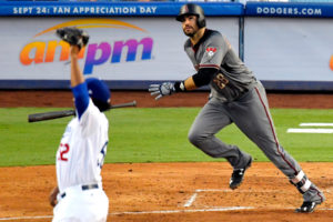 JD Martinez going for a home run.