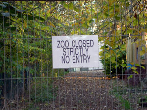 Zoo closed so animals have time to rest.